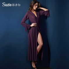 Suze Er pijamale sexy ispită feminin lenjerie sexy transparent primăvară subțire prelungit tifon solid rochie halat de baie