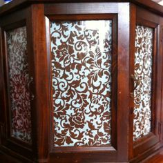 Fabric Covering Glass Doors In Cabinet. I Am Doing This With My Late  Grandmotheru0027s Curio Cabinet In Our Office!