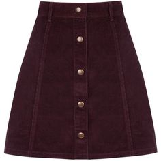 OASIS Cord Button Mini Skirt (€50) ❤ liked on Polyvore featuring skirts, mini skirts, bottoms, red, cord skirt, short mini skirts, red mini skirt, panel skirt and purple mini skirt