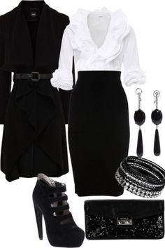 Classic. My favorite look - crisp white shirt and black skirt or pants.