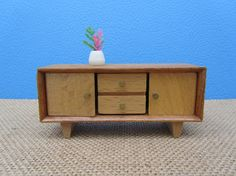 Credenza Dollhouse Furniture Miniature Wood Cabinet Modern Danish Style Retro Collectible Art Gift by WillowValleyVintage on Etsy