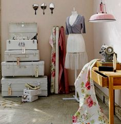 sewing space- love the suitcases how to paint evenly and what type of paint to use?