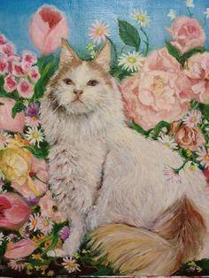 植物画「猫と花」[MASAKO] | ART-Meter