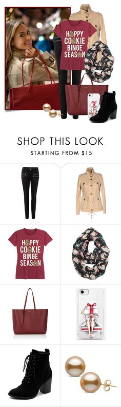"""""""Christmas Shopping"""" by funnfiber ❤ liked on Polyvore featuring Paige Denim, Tory Burch, Yves Saint Laurent and Ollio"""