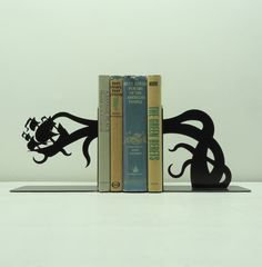 Tentacle Pirate Ship Attack Bookends  Free door KnobCreekMetalArts, $64.99