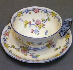 royal albert butterfly handled tea cup, 1930s