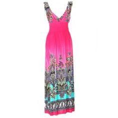 Plunging V-Neck Ethnic Style Pattern Print Color Matching High-Waist Dress For Women