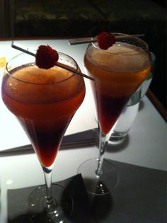 Champagne coctail with rhubarb and strawberry.