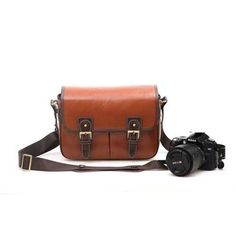 Waterproof Vintage PU Leather DSLR Camera Bag Cross Body Portable Case Fit DSLR with 2 lenses For Canon Canon EOS 760D, 750D 700D 650D, 60D 70D 7D 6D 1200D Nikon D7100 D5500 D5300 D5200 D3300 D3200 Sony Fuji Pentax Bridge & DSLR Camera