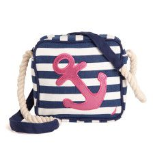 A sparkly anchor and nautical rope strap make this little bag a lovely pick for vacay or any day.