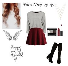 """Nora Grey inspired(hush,hush)"" by obrien91 ❤ liked on Polyvore featuring ASOS, Chicwish, Forever 21 and NYX"
