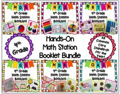 Start your new year out with a BANG!  This 4th grade yearlong hands-on math station booklet bundle contains 900 pages! There are 28 booklets, plus resources, for ALL the common core math standards. $