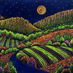 Warm Moonlit Fields, woodcut by VT artist Daryl Storrs