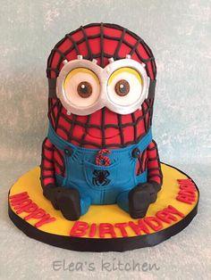 Spiderman minion cake