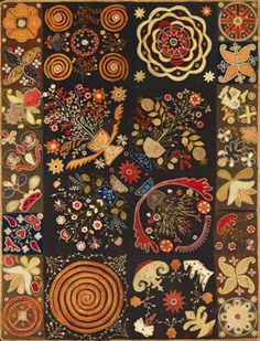 A graphic American Patchwork Rug, 57 x 76 inches. 1810-1820