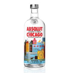 "Cool bottle designed by Ross Bruggink for ""Absolut Chicago,"" a new limited edition vodka."