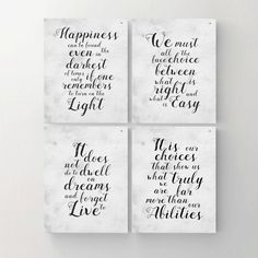 Set of 4. Harry Potter Print. Printable Poster. Happiness. Choice. Dwell. Albus Dumbledore Quote. Harry Potter Wall Decor. INSTANT DOWNLOAD by MyPrintableDream on Etsy