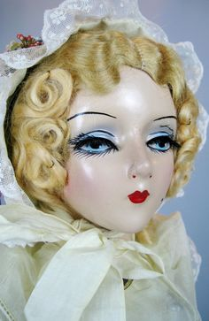 97c82f17c09 Vintage 1930s Sterling Boudoir Bed Doll Mary Pickford Face Doll