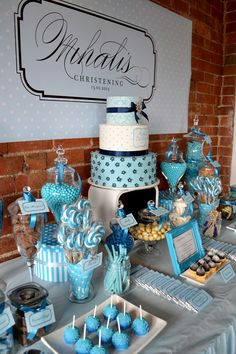 Blue themed Christening party idea, with a cake table used as the centre piece and name decal.