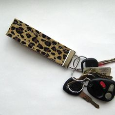 Keychain Fob in Leopard Print Fabric