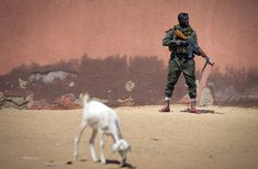 Malian army soldier Sekou Bolly, 30, holds an AK-47 assault rifle as he patrols in Gao, on February 25, 2013.