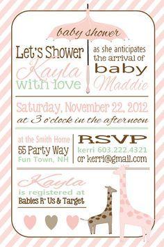 Giraffe baby shower invite for girl