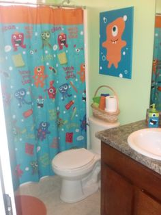 Monster Shower Curtain By Jumping Beans At Kohls Ideas For Our - Kids bathroom shower curtains for small bathroom ideas