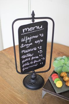 Table Top Swivel Chalkboard is classy with a vintage flair. Our chalkboard is the perfect spot for your families weekly menu, to do lists or even to write a special message to your loved ones.List the