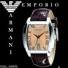 EMPORIO ARMANI Herren Uhr AR0934 Herrenuhr Braun Leder ORIGINAL NEU