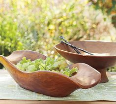 So nice, had to Pin It twice! > Vintage Wood Carved Bowls #potterybarn