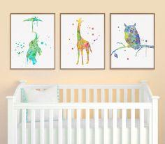 Elephant Giraffe Owl, Baby Nursery Decor, Jungle Nursery, Nursery Wall Decor, Watercolor Animal Nursery, Baby Room Decor, Kids Room Decor by MiaoMiaoDesign on Etsy https://www.etsy.com/listing/210444179/elephant-giraffe-owl-baby-nursery-decor