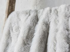 Faux Fur Throw in Light Grey | Arhaus