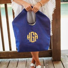 Our Monogrammed Jute Beach Totes are here and ready to accompany you to the beach, pool, lake or on your cruise this vacation, travel, and recreation season! Perfect large, personalized tote for all o