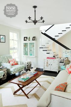 Light and bright living room, mint, aqua, coral, persimmon, and WHITE.