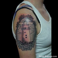 18 Grand Black And Grey Lighthouse Tattoos Arm Tattoos, Lighthouse Tattoos, Tatting, Piercings, Black And Grey, Deviantart, Ink, Tattoo Ideas, Color
