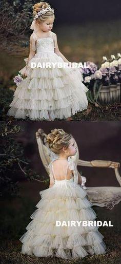 Ivory Spaghetti Straps Tulle Flower Girl Dresses, A-Line Beaded Popular Little Girl Dresses, Tulle Flower Girl, Tulle Flowers, Flower Girl Dresses, Baby Flower, Flower Girls, Mini Skirt Dress, Mini Skirts, Little Girl Dresses, Girls Dresses