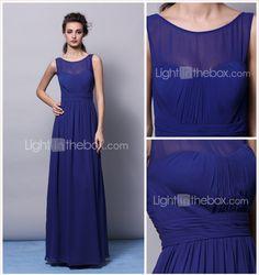 Sheath/Column Jewel Floor-length Chiffon Bridesmaid Dress (2463419) - BRL R$ 307,77