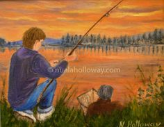 """""""Father and Son Fishing"""" by Nuala Holloway - Oil on Board #Fishing #IrishArt #OilPainting"""