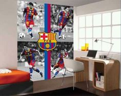 Decorate the wall with FC Barcelona Boys Soccer Bedroom, Football Bedroom, Soccer Room, Boy Room, Kids Bedroom, Rosalie, Boy Decor, Room Goals, Bedroom Styles