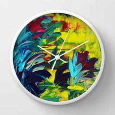 FLORA - Gorgeous Lemon Lime Citrine Chartreuse Turquoise Blue Oxblood Magenta Whimsical Fine Art  Floral Bouquet Garden Flowers Colorful Nature Beauty Modern Style Trendy Home Decor, Decorative Wall Clock by EbiEmporium - $30.00