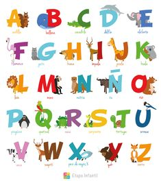 Cute cartoon zoo illustrated alphabet with funny animals. Learn to read. This pack includes: - file compatible and editable. All About Me Activities For Toddlers, Preschool Learning Activities, Toddler Activities, Kids Learning, Animal Alphabet, Alfabeto Animal, Abc Phonics, Le Zoo, Zoo Animals
