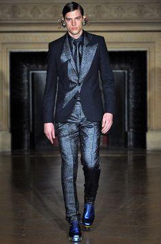 Walter Van Beirendonck AW13 #mens #fashion #paris #suit #glitter #colour #blue style.com