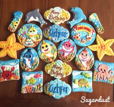 Pinkfong baby shark under the sea decorated icing cookies Sugardust Boys First Birthday Party Ideas, Baby Boy Birthday, 1st Boy Birthday, Boy Birthday Parties, Shark Party, 1st Birthdays, Baby Shark, Shark Cookies, Camden