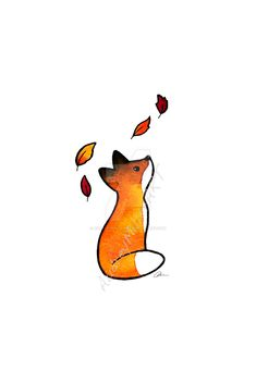 The Fox and The Leaves by AudreyMillerArt. deviantart.com audreymillerart@gmail.com