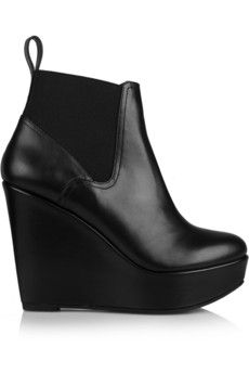 Robert Clergerie Fille leather wedge ankle boots | NET-A-PORTER