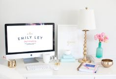 Emily Ley's office is stunning. White background, gold details. LOVE this space. Pin via: http://emilyley.com/blog/2013/11/the-new-emily-ley-shop/