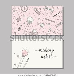 Vector template with makeup items pattern - brush powder blush puff eyeshadow lipstick nail polish mascara and mirror - compre este vetor na Shutterstock e encontre outras imagens. Makeup Artist Logo, Best Makeup Artist, Makeup Artists, Business Card Logo, Business Card Design, Banners, Nail Logo, Eyelash Logo, Web Design