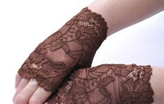 Lace Fingerless gloves Brown Strech Lace Short by IskaCreations, $23.00