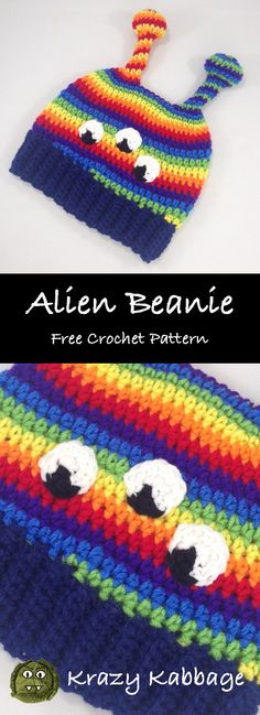 Alien Rainbow Beanie Hat Free Crochet Pattern - Krazy Kabbage #beanie #hat #crochet #rainbow #antennae #kids #space #planets
