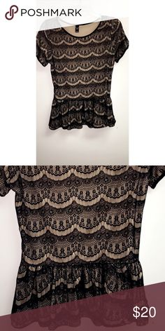 Windsor Peplum Top Beautiful cream color lace with patterns. Only worn once. In brand new condition. WINDSOR Tops Blouses